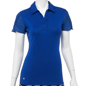 Short Sleeve Stripe Texture Mesh Trim Polo