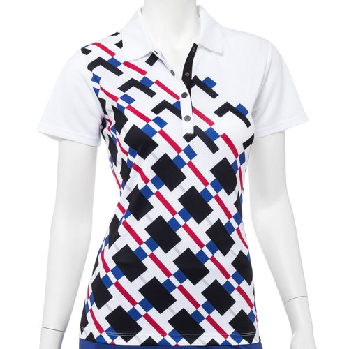 Short Sleeve Modern Gradated Geo Placed Print Polo