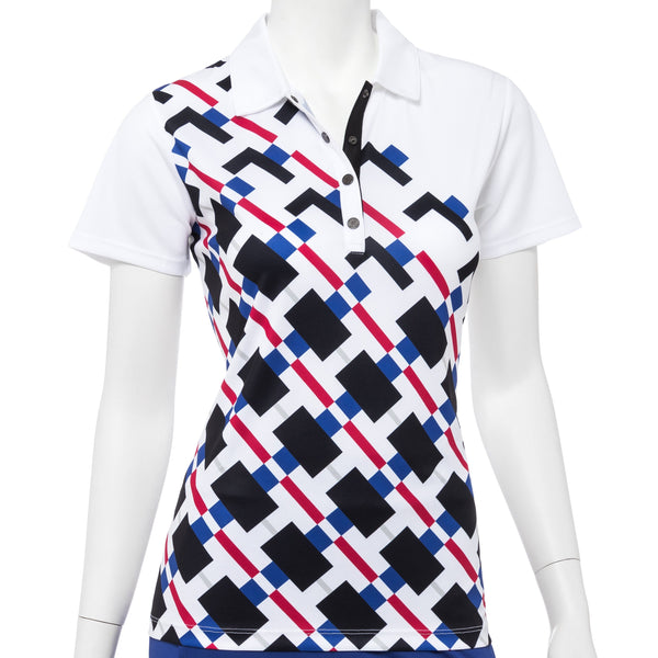 Short Sleeve Modern Gradated Geo Placed Print Polo - EPNY