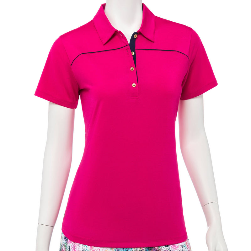 Short Sleeve Polo w/Lacing Work Cutout Back Detail - EPNY