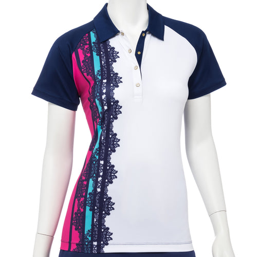 Cap Sleeve Placed Strip Lacework Print Polo