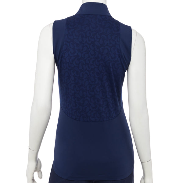 Sleeveless Paisley Mesh Jacquard Blocked Polo - EPNY