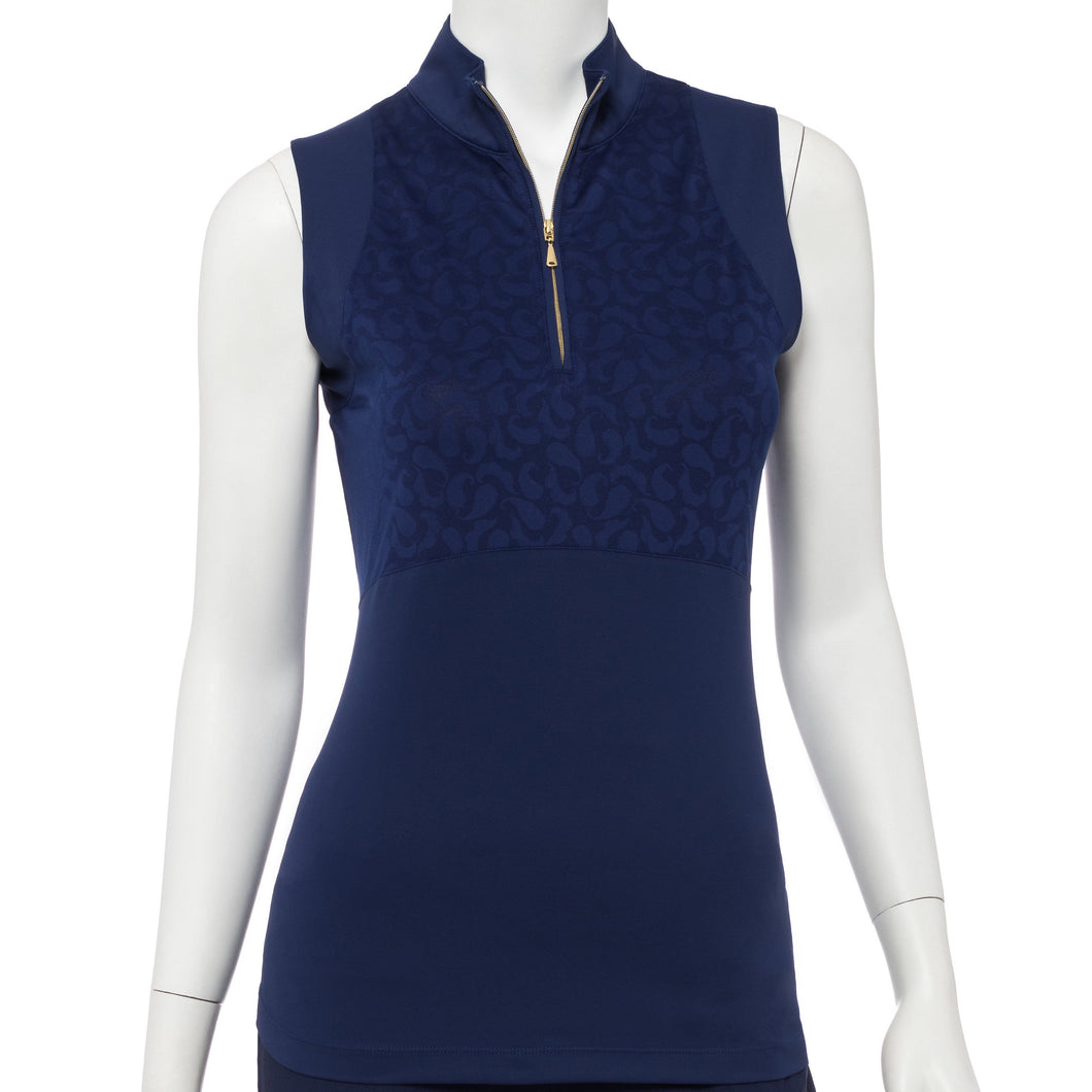 Sleeveless Paisley Mesh Jacquard Blocked Polo