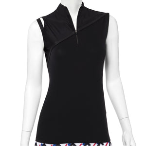 Sleeveless Polo w/Asymmetric Shoulder Cut Out Detail