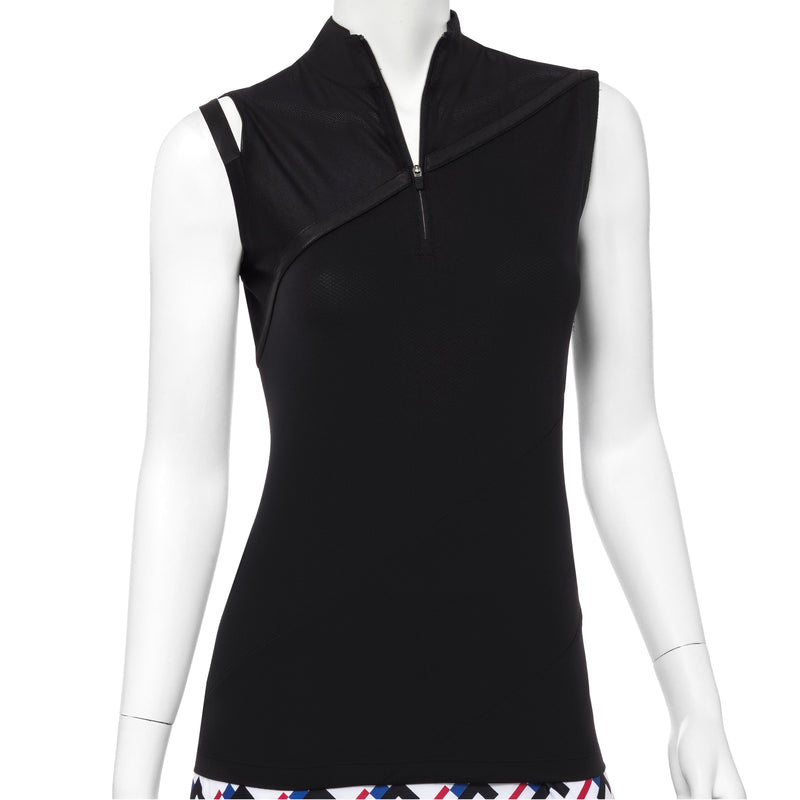 Sleeveless Polo w/Asymmetric Shoulder Cut Out Detail - EPNY
