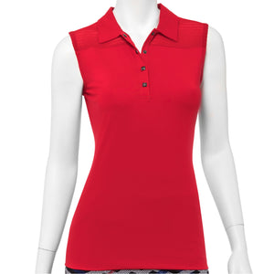 Sleeveless Strip Texture Mesh Trim Snap Placket Polo