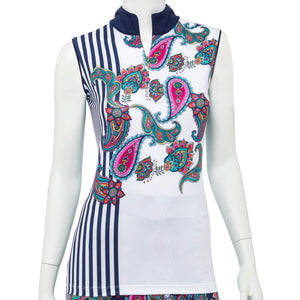 Sleeveless Placed Paisley Stripe Print Convertible Zip collar Polo