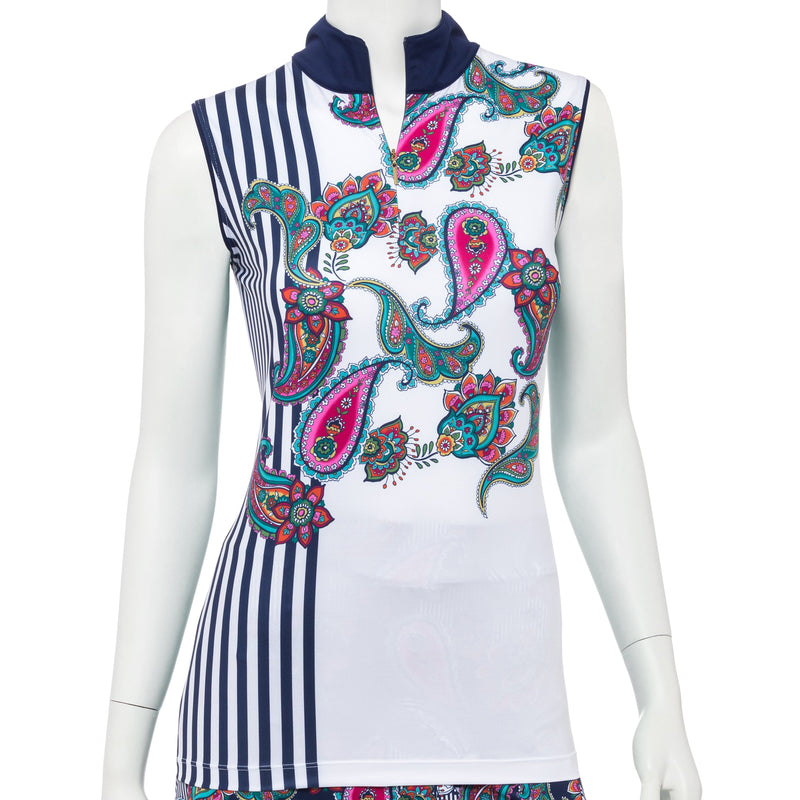 Sleeveless Placed Paisley Stripe Print Convertible Zip collar Polo - EPNY