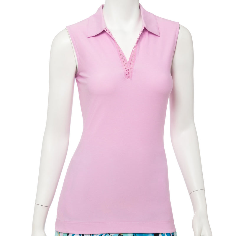 Sleeveless Snakeskin Laser Ribbon Trim Polo - EPNY