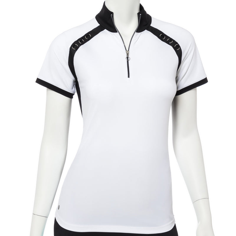 Cap Sleeve Scallop Silver Ring Trim Zip Mock Polo - EPNY