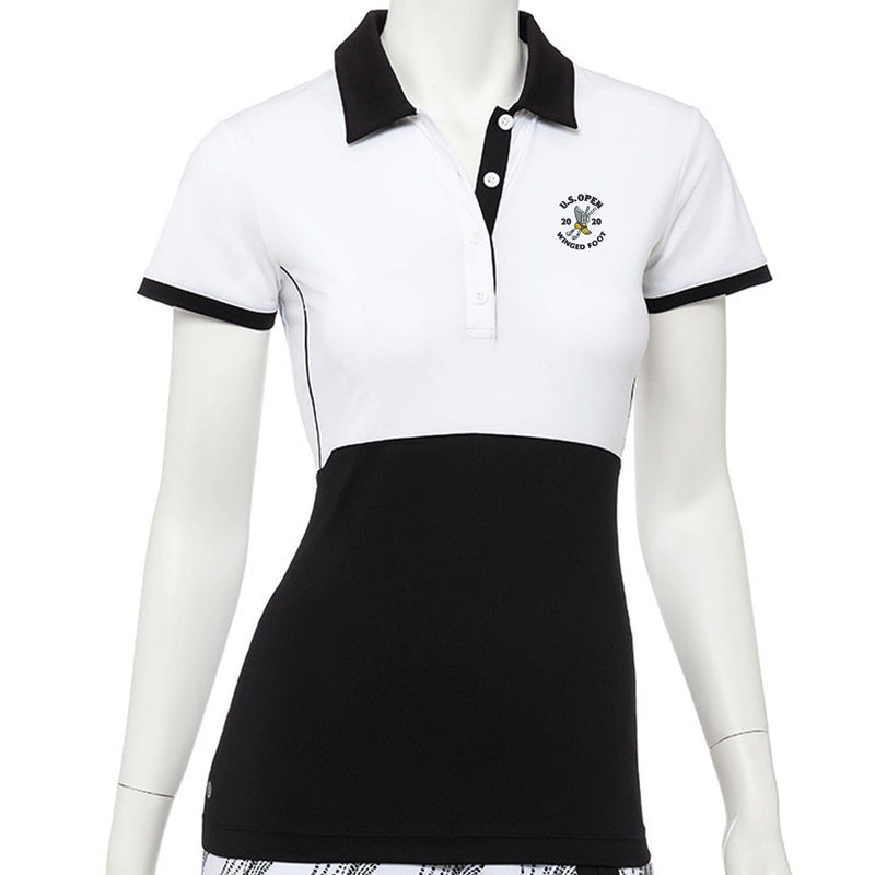 2020 U.S. Open Cap Sleeve Placed Dash Dot Print Polo - EPNY