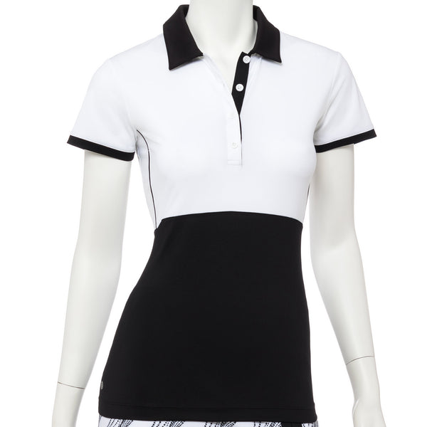 Cap Sleeve Placed Dash Dot Print Polo - EPNY