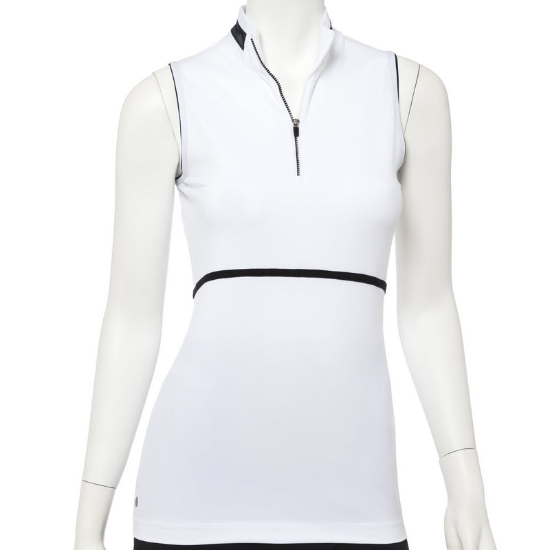 Sleeveless Silver Ping Trim Zip Mock Polo - EPNY