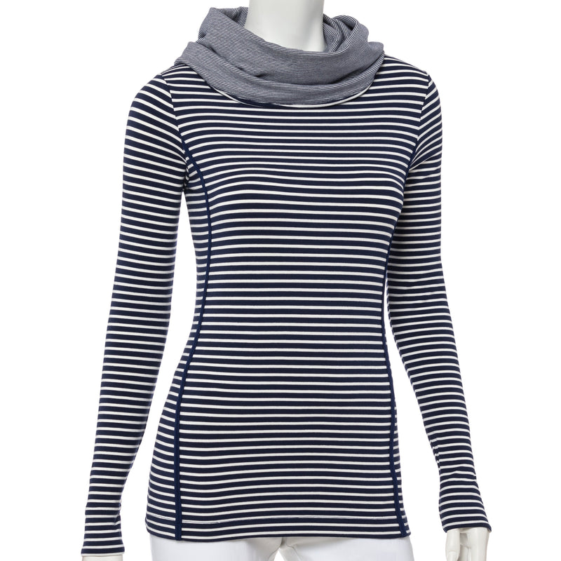 Long Sleeve Stripe Cowl Neck Pullover - EPNY
