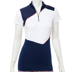 Cap Sleeve Color Blocked Zip Mock Polo - EPNY