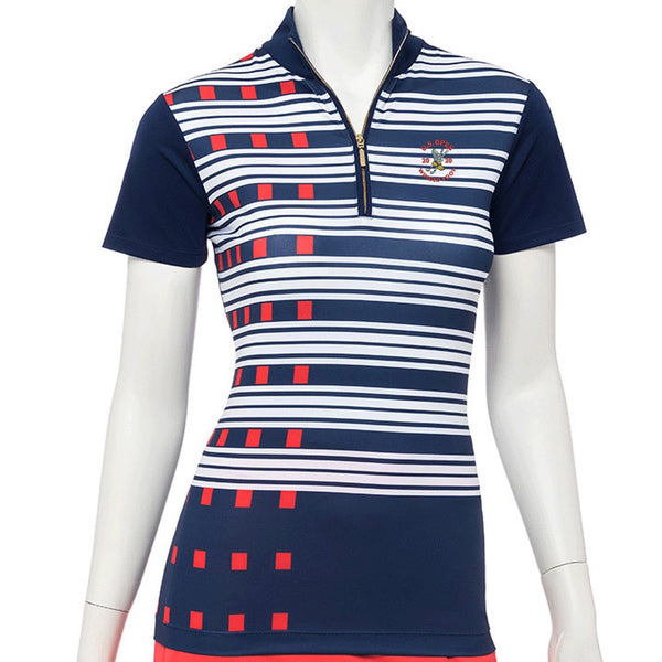 2020 U.S. Open Short Sleeve Exploded Dash Stripe Print Zip Mock Polo - EPNY