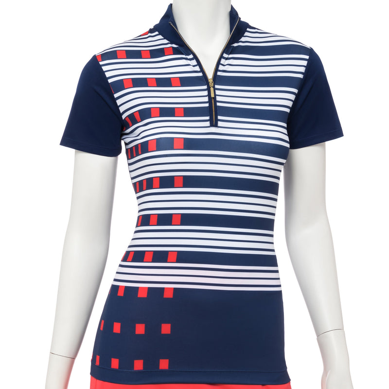 Short Sleeve Exploded Dash Stripe Print Zip Mock Polo - EPNY