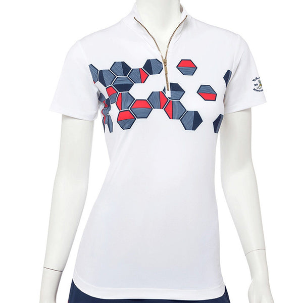 2020 U.S. Open Short Sleeve Placed Linear Hexagon Zip Mock Polo - EPNY