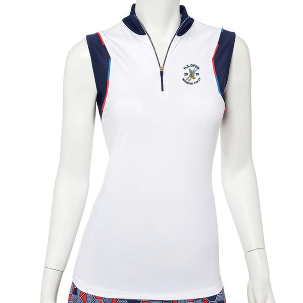 2020 U.S. Open Sleeveless Variegated Piping Trim Zip Mock Polo - EPNY