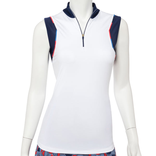 Sleeveless Variegated Piping Trim Zip Mock Polo - EPNY