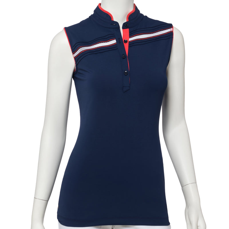 Sleeveless Mesh Inset & Pintuck Trim Polo - EPNY