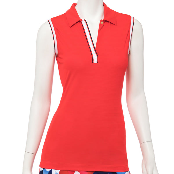 Sleeveless Stripe Mesh Tape Trim Polo - EPNY