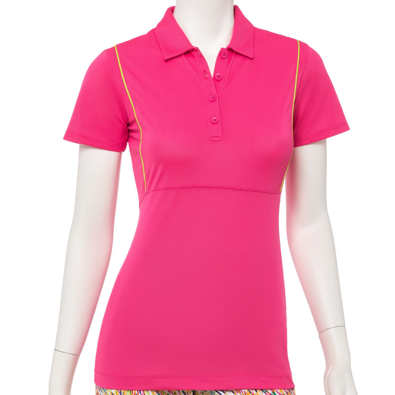 Short Sleeve Contrast Piping Trim Zip Mock Polo - EPNY