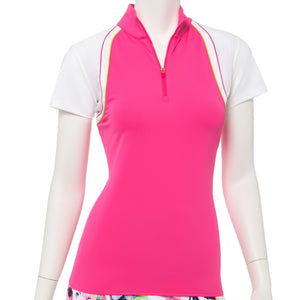 Cap Sleeve Curved Blocked Zip Mock Polo - EPNY