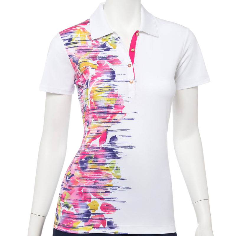 Short Sleeve Placed Striated Abstract Floral Print Polo - EPNY