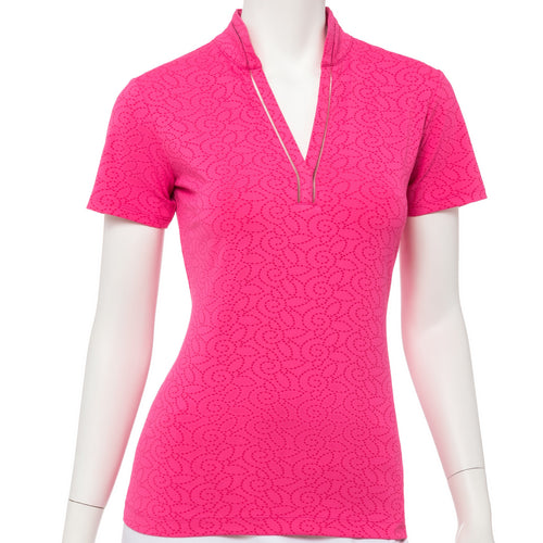 Short Sleeve Floral Dot Jacquard Polo - EPNY