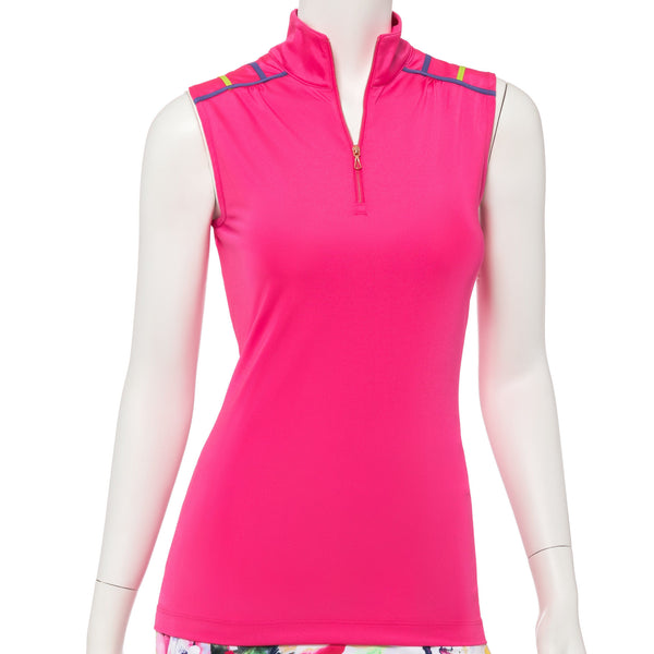 Sleeveless Criss Cross Tape Trim Zip Mock Polo - EPNY