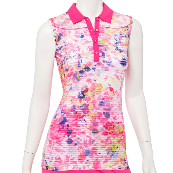 Sleeveless Striated Abstract Floral Print Pucker Polo - EPNY