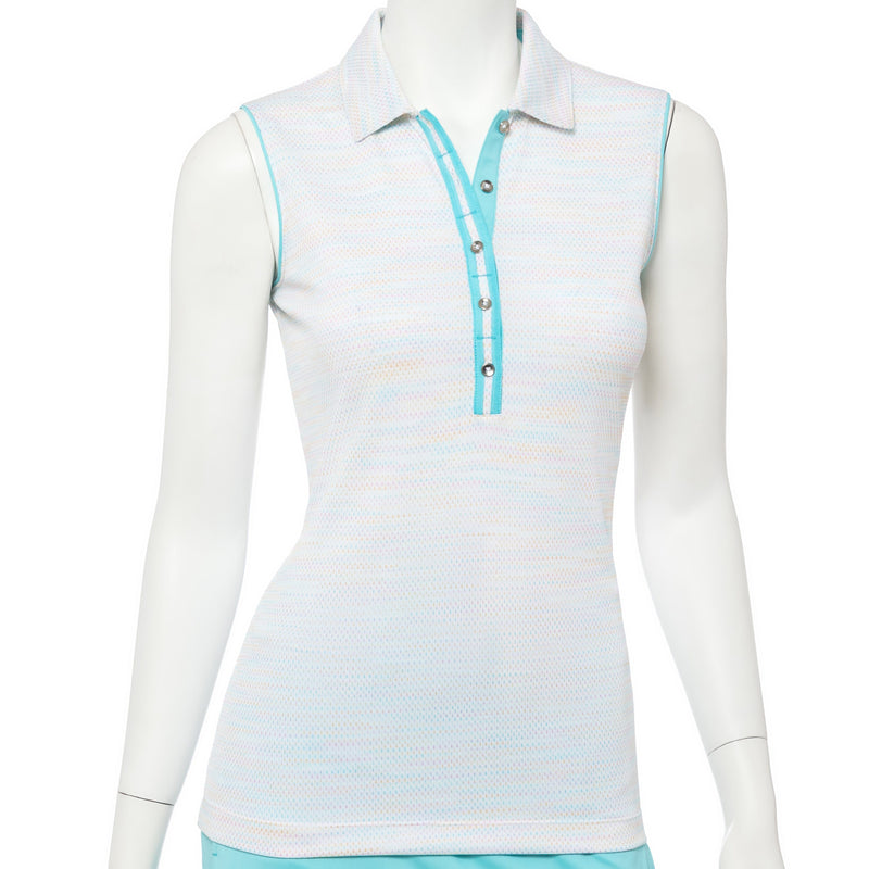 Sleeveless Space Dye Ribbon Trim Polo - EPNY
