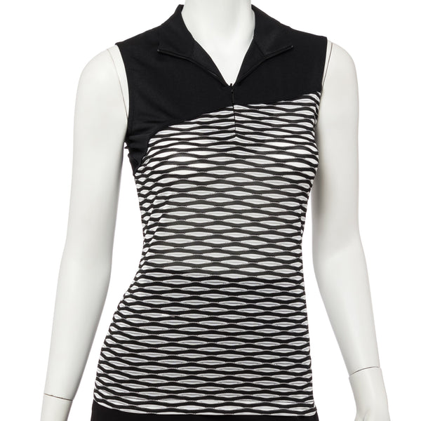 Sleeveless Bicolor Texture Convertible Zip Collar Polo - EPNY