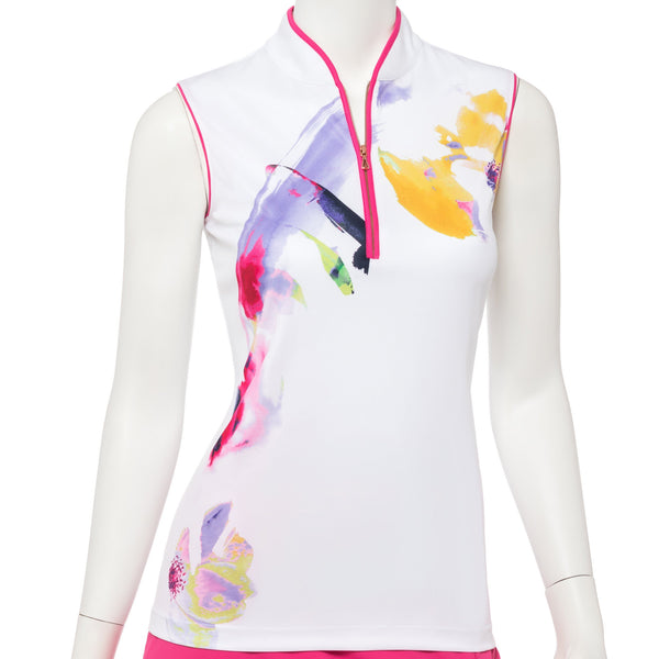 Sleeveless Watercolor Floral Placed Print Polo - EPNY