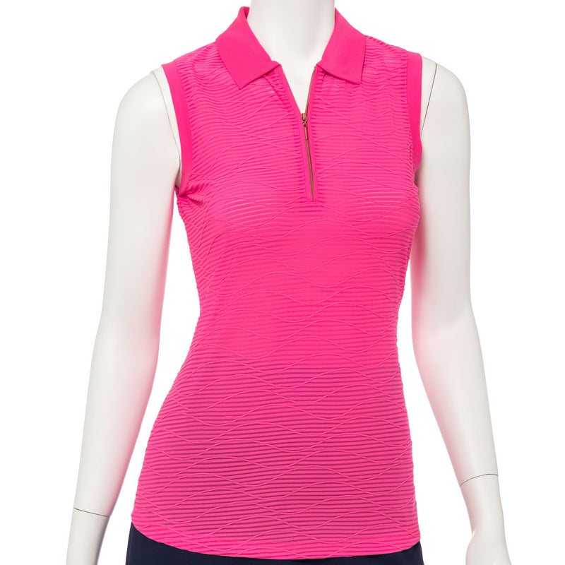 Sleeveless Textured Wave Jacquard Polo - EPNY