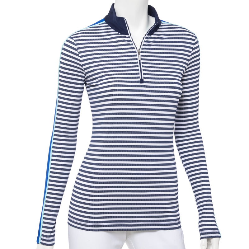 Long Sleeve Textured Stripe Zip Mock Polo