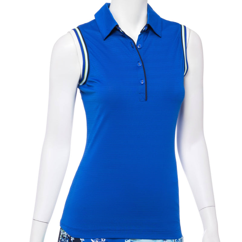 Sleeveless Polo w/ Stripe Tubular Tape
