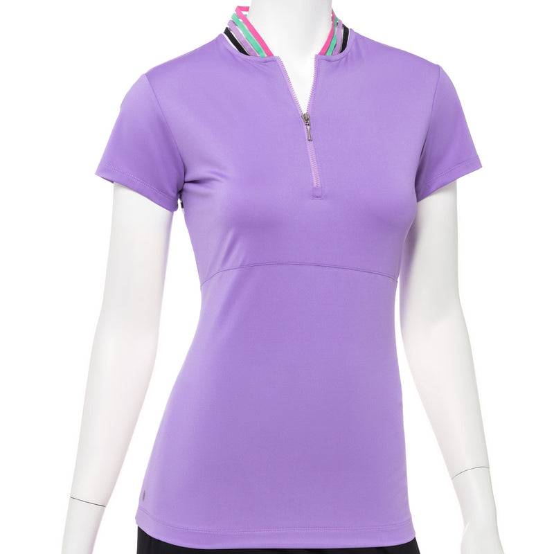 Cap Sleeve Zip Mandarin Collar Polo