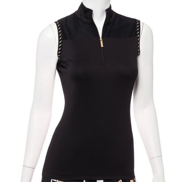 SLEEVELESS CUTAWAY ZIP MOCK POLO