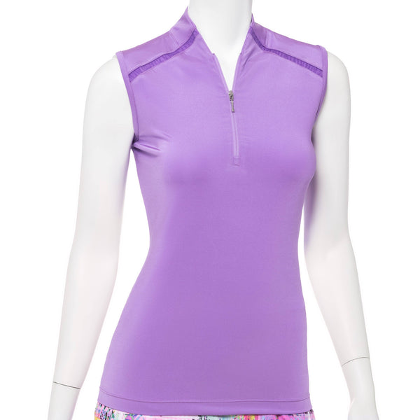 Sleeveless Zip Mandarin Stand Collar