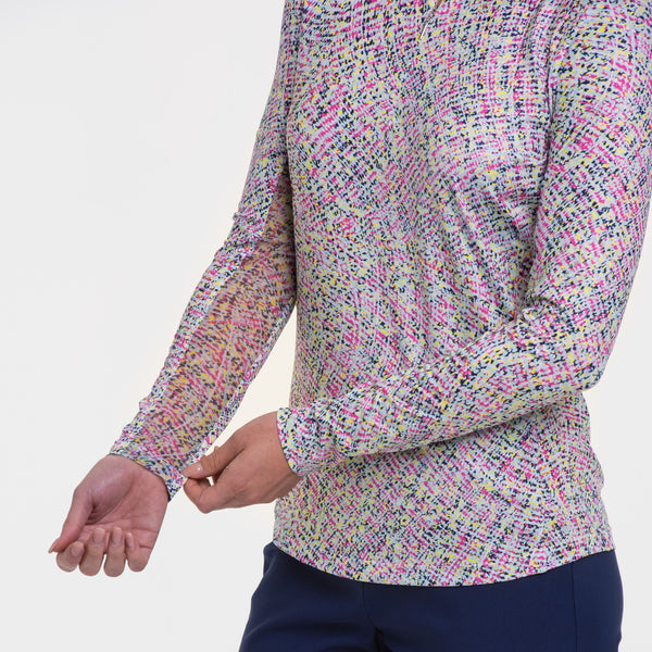 LONG SLEEVE CASCADING WATERCOLOR PRIN