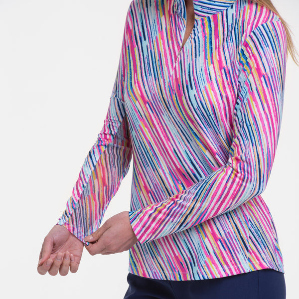 LONG SLEEVE BIAS WATERCOLOR STRIPE PRINT ZIP MOCK POLO