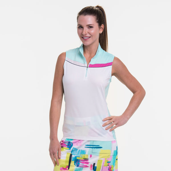 SLEEVELESS MULTI COLOR BLOCK ZIP MOCK POLO