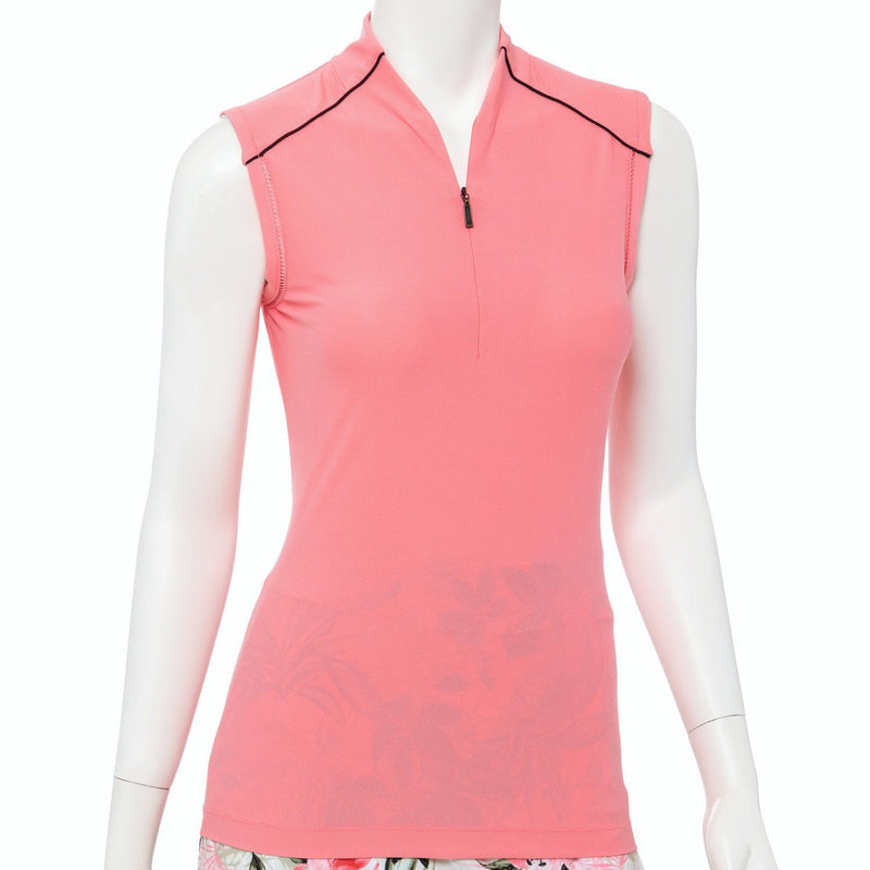 Sleeveless Fagotting Trim Zip Mandarin Collar Polo