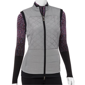 Quilt Vest With Fleeced Knit Hem Detail