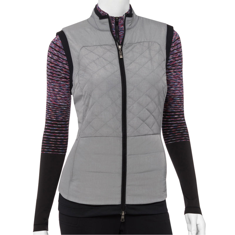 Quilt Vest With Fleeced Knit Hem Detail - EPNY