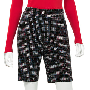 Tricolor Mini Plaid Print Compression Short