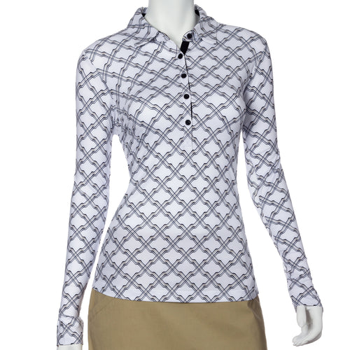 Long Sleeve Ribbon Lattice Print Polo
