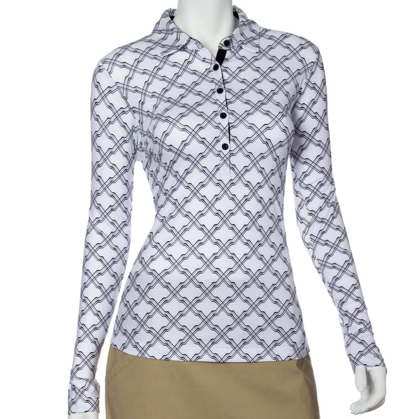 Long Sleeve Ribbon Lattice Print Polo - EPNY